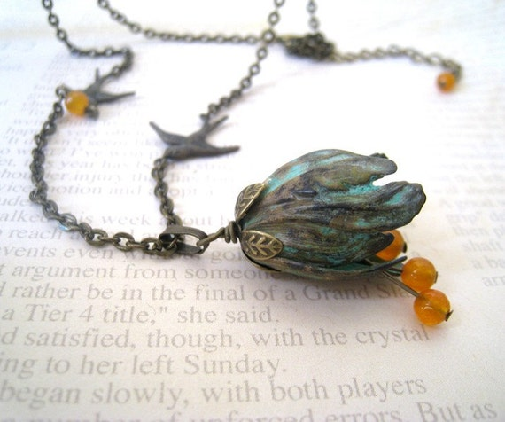 Tulip Necklace. Verdigris Patina Tulip with Flying Sparrow in Antique Brass
