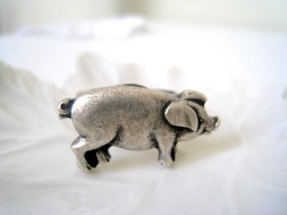 Antique Silver Piggy Ring