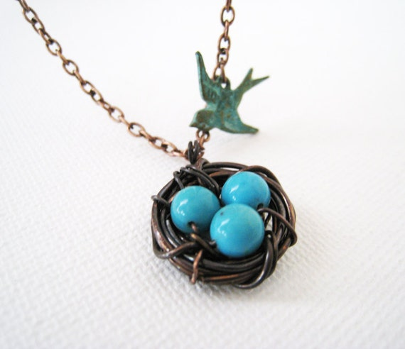 Bird Nest Necklace. Flying Bird and Robin Eggs in Ox Copper Nest