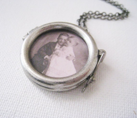 Picture Frame Locket Necklace in Antique Silver