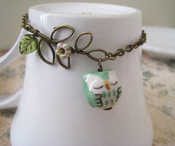 Owl on Leafy Branch Bracelet