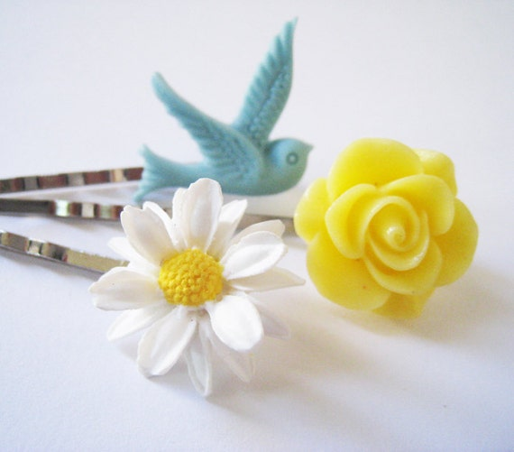 Blue Dove and Flowers Hairpins Set