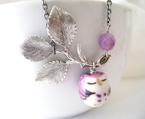 Items similar to Owl Necklace. purple owl on leafy branch ...