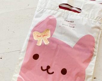 100 pcs Cute Rabbit Gift Bags, pink rabbit on cream