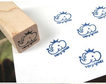 Kawaii elephan very good Rubber Wooden Stamp