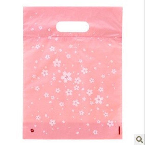 50 pcs Pink and White Sakura Cherry Blossom Floral Japanese Clear Gift Wrapping Bags