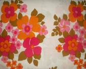 Vintage 70's cotton fabric - Retro White with Flowers - orange, pink, green