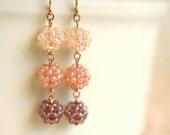 SALE - Sweet Seed Bead Ball Earrings in Baby Pink, Rose, and Lavender Purple