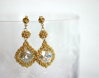 Moonlight Swarovski Crystal Earrings - Wrapped in Gold Colored Japanese Seed Beads