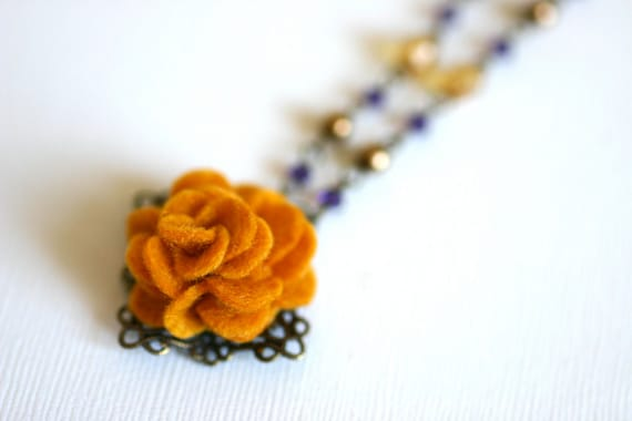 SALE ------  Antique Style Mustard Yellow Felt Flower Necklace with Czech Beads and Swarovski Crystals - Fall / Winter Collection