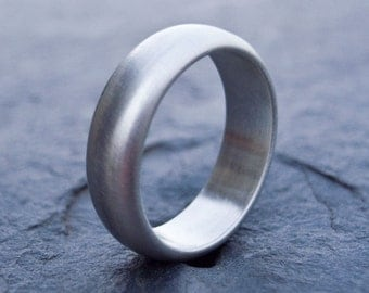 Sterling Silver Ring - Unisex Ring  - Wedding Ring - Brushed Silver