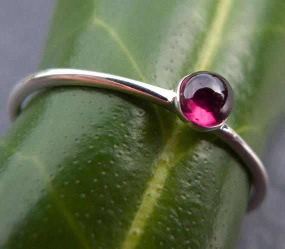 Tiny garnet stacking ring