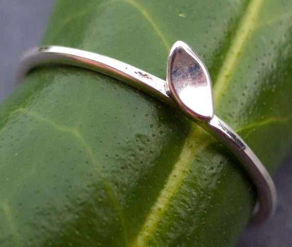 Tiny sterling silver leaf stacking ring
