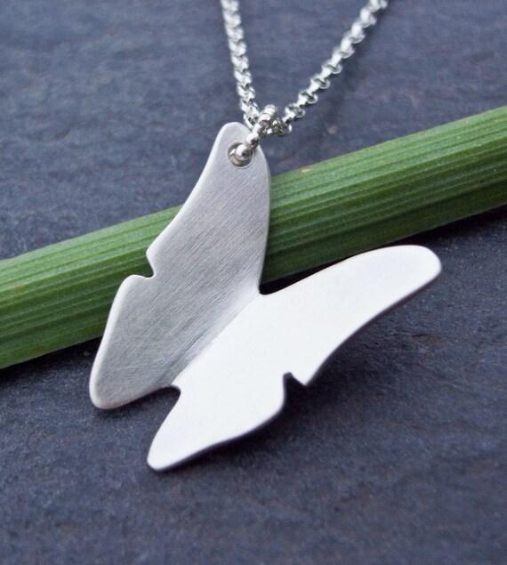 Butterfly Pendant, Butterfly Necklace, Sterling Silver Butterfly Pendant Necklace