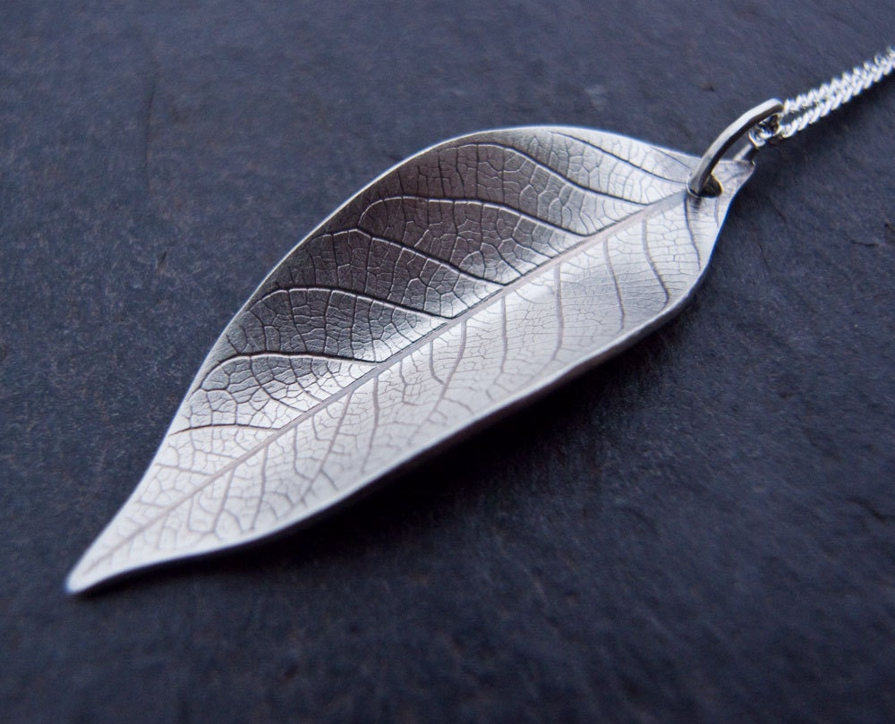 Leaf pendant necklace craftbnb sterling silver leaf pendant necklace leaf pendant leaf by scape mozeypictures Images