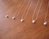 6 Single Pearl Necklaces, Bridesmaid Flowegirl Gift - reserved for Courtney