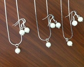3 Bridesmaid Jewelry Gift Sets,  Single Pea - Necklace, Earrings - bridesmaid jewelry under 15