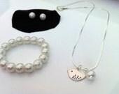 Little bird flower girl necklace, bracelet & stud earrings gift set