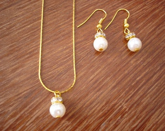 Single Pearl Gold Bridesmaid Necklace and Earrings Jewelry Set