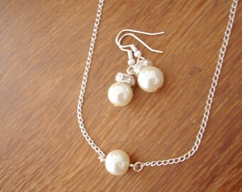 Set of 4 Single Floating Pearl Earrings and Necklace Sets - bridal bridesmaid jewelry - floating pearls