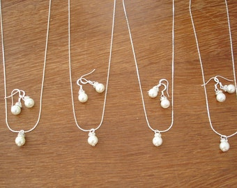 5 Simple & Elegant Pearl Bridesmaid Jewelry Gifts - Necklace and Earrings, Weddings, bridesmaid gift