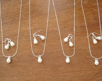 3 Bridesmaid Jewelry Gifts Simple & Elegant Pearl- Set of 3 Bridesmaid Jewelry Sets, Necklace and Earrings, Wedding Jewelry