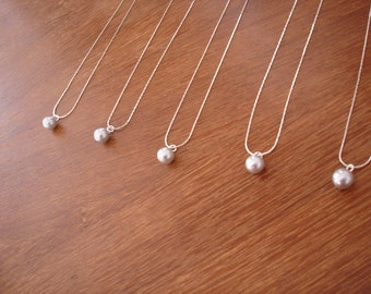 9 Single Pearl Bridesmaid Gift Necklaces - Ivory, White, Grey, Rose Pink, Black, more colors available - gift under 10