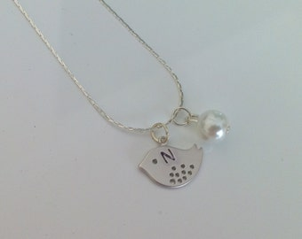 2 Flowergirl initial little bird and pearl necklace gifts