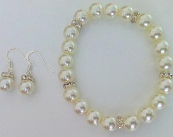 Popular Pearl Bracelet and Earrings Bridesmaid Set - Bridesmaid Gift, Bridesmaid Jewelry