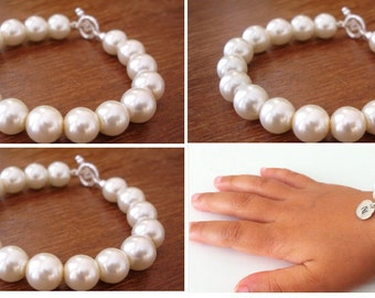 3 chunky pearl bridesmaid bracelets and 1 flower girl initial bracelet.
