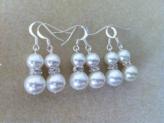 4 Popular Favourite Pearl Bridesmaids Earrings, bridesmaid gifts, bridal party earrings