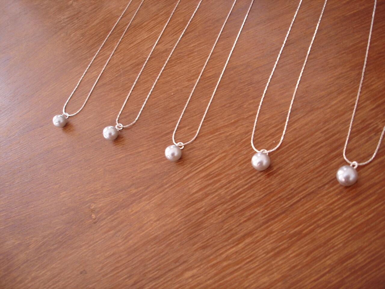 Wedding Bridesmaid Necklaces 9 single pearl bridesmaid gift necklaces ivory white grey