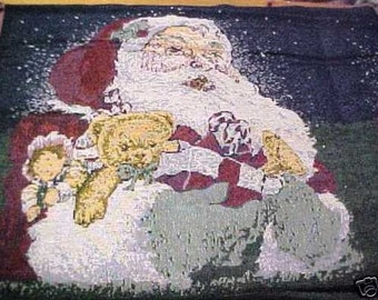 New tapestry pillow traditional Santa denim back 16X17