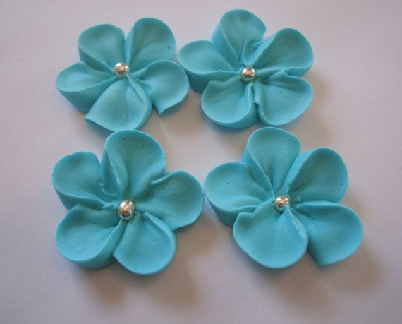 Lot of 100 royal icing Sugar Flowers Teal blue