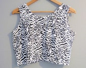Crop Top Zebra Vintage Black and White Cropped Medium
