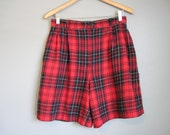 Red Plaid Shorts Vintage High Waist Flannel Lumberjack Large