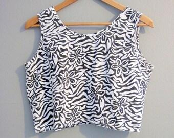 Crop Top Zebra Vintage Black and White Cropped Medium