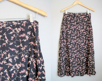 Floral Maxi Skirt Black Pink Vintage Grunge Medium