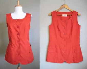 Vintage Vest 1960s Orange Rust Mod Tunic Medium