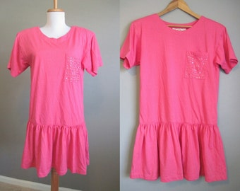 Tshirt Dress Vintage Babydoll 80s Pink Mini Medium