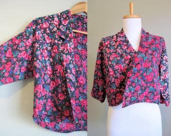 Cropped Jacket Floral Vintage Grunge Bolero Medium