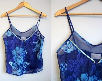 Floral Camisole Vintage Lingerie Blue Sheer 1980s Small