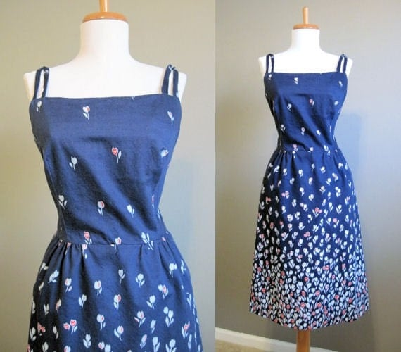 70s 80s Sundress Navy Blue Floral Dress M L By