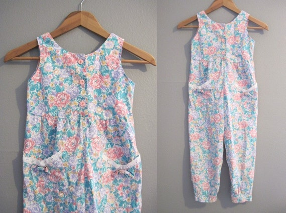Girls Romper Vintage Little Kids Floral Jumpsuit Pants Size 6