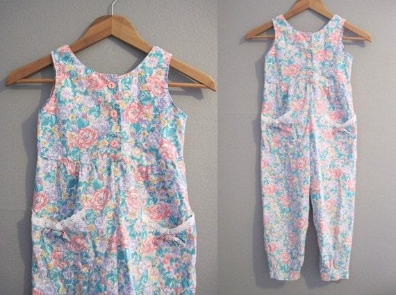 Girls Romper Vintage Little Kids Floral Jumpsuit Pants Size 6