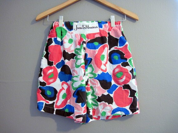 Floral High Waisted Shorts Vintage Bright Colors Small