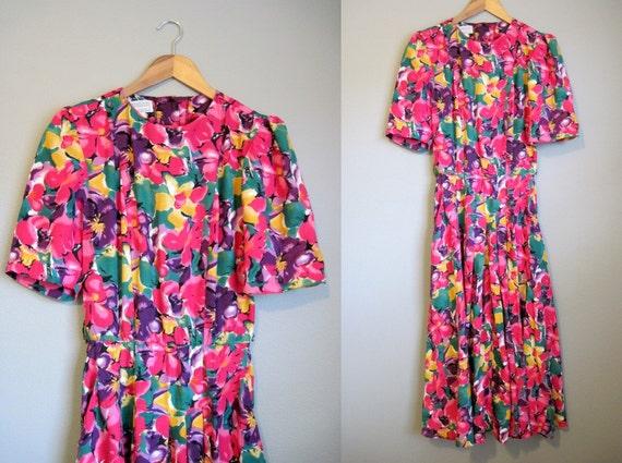 Floral Dress Vintage Fuschia Pink Garden Party 1980s Medium