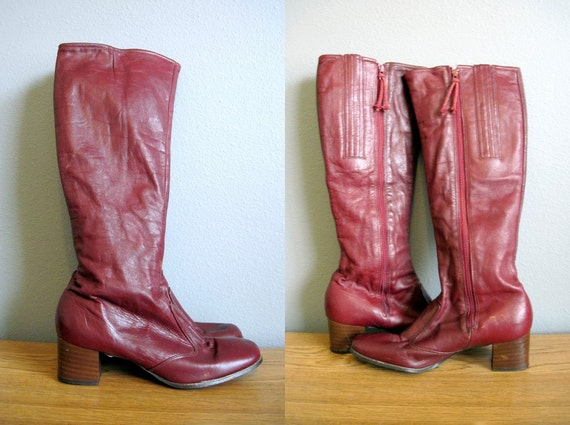 Knee High Boots Vintage 70s Leather Oxblood Burgundy 6