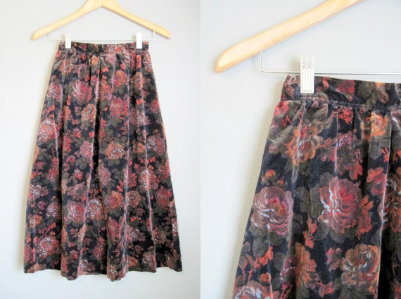 Boho Floral Skirt Vintage Hippie High Waisted Velvet XS