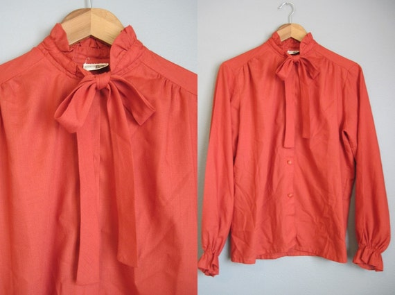 Vintage Secretary Blouse Pumpkin Orange 70s Sears Tie Neck